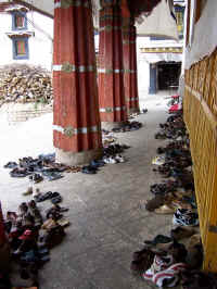 monks shoes at drepong monestary.JPG (119179 bytes)